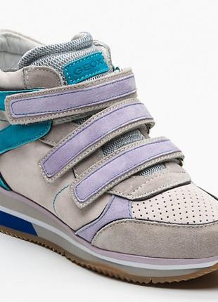 Новые сникерсы geox кроссовки на липучках. 100% замша. р. 40 и 41 деми ботинки