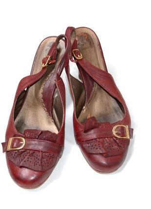 Кожаные туфли с открытой пяткой, босоножки, размер 36-37