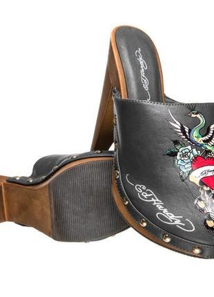 Оригинал босоножки на каблуке сабо женские с принтом закрытые ed hardy portland