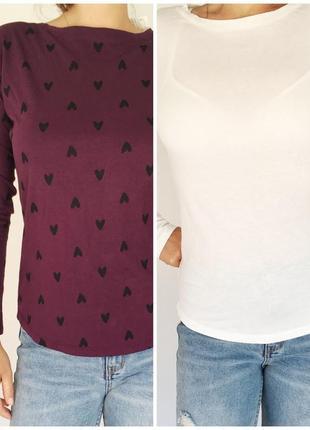 Лонгслив, кофта, реглан, футболка с длинным рукавом, остались только белые!