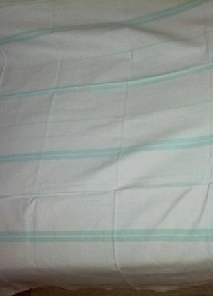 Простыня полуторная  , салатовые полосы,лен,140/200см.