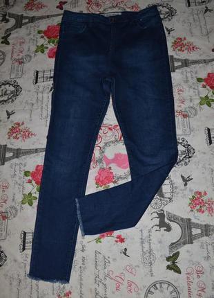 Очень крутые джинсы с высокой посадкой  бахромой denim co 14 размер