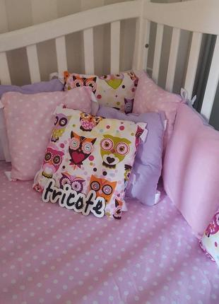 Набор в кроватку для малыша (бортики, плед, простынь)2 фото