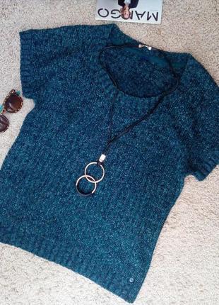 Cecil стильный меланжевый свитер /джемпер изумрудного цвета