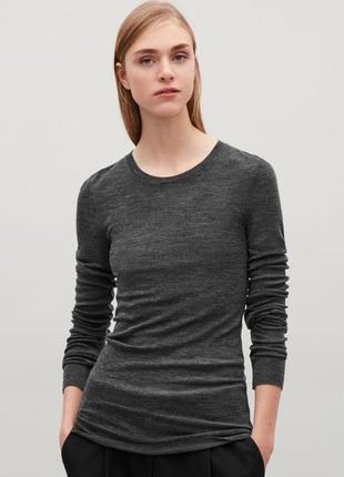 100% мерино шерсть топ лонгслив джемпер свитер от cos