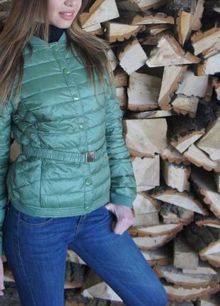 Пуховая куртка италия с поясом анорак, пуховик, приталенная стеганая