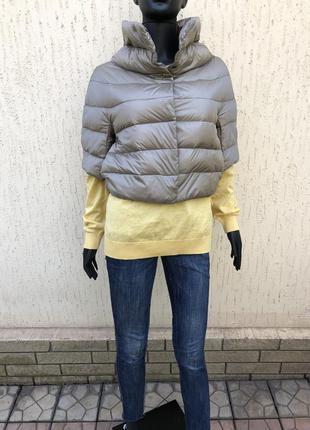 Лёгкий итальянский пуховик оверсайз, куртка пуховая 3/4 рукав
