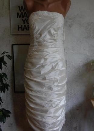 Вечернее/свадебное/выпускное/нарядное платье миди по фигуре цвет шампань