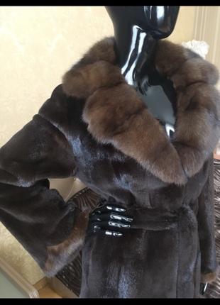 Норковая шуба, полушубок с соболем, финский бренд saga furs горький шоколад, 70 см, 44-46