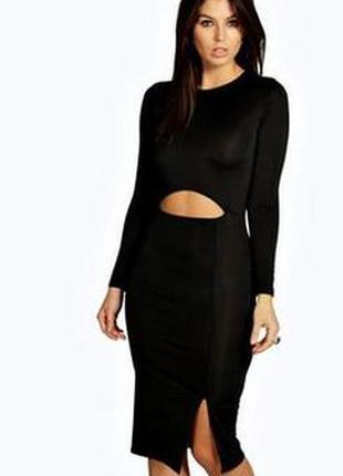 Платье, миди, облегающее, черное