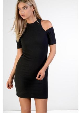 Платье классическое черное h&m с открытыми плечами