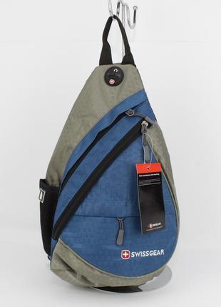Рюкзак слинг через плечо swissgear 8541 голубой с выходом для наушников
