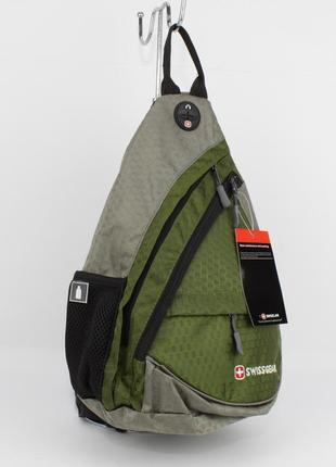 Рюкзак слинг через плечо swissgear 8541 хаки с выходом для наушников