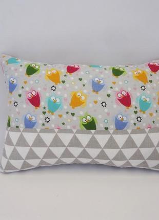 Декоративная подушка, двухсторонняя хлопок и плюш - совушки