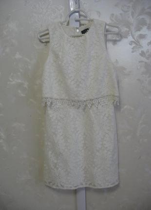 Шикарное белое кружевное платье с имитацией топа topshop