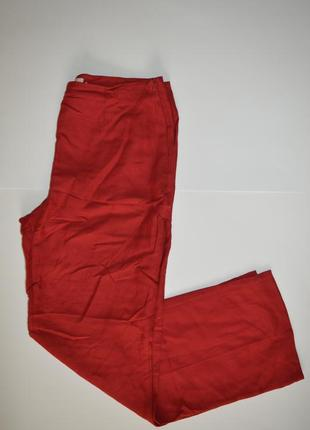 Прямые брюки zara красные в составе есть лен
