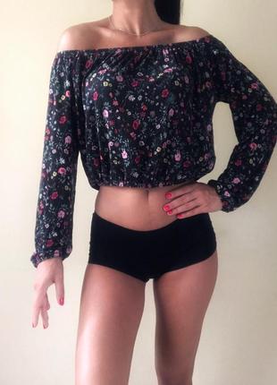 Кофта блузка со спущенными открытыми плечами/h&m
