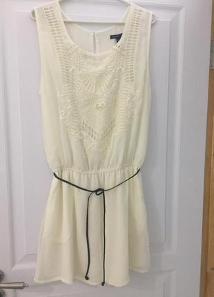 Молочное платье шифон с прошвой