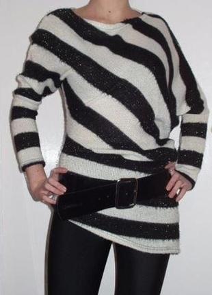 Теплая туника в полоску свитер оригинального покроя