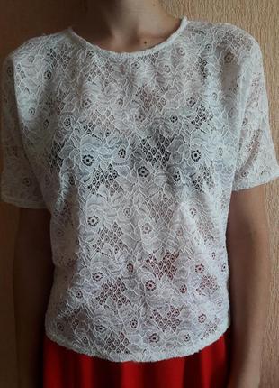 Кружевная футболка от new look