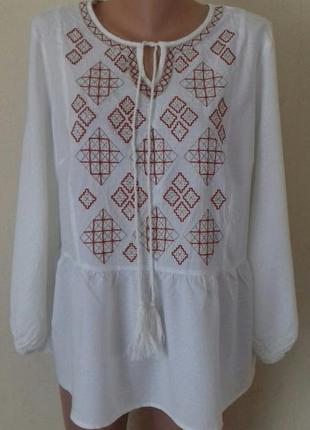 Натуральная кремовая блуза с вышивкой большого размера tu