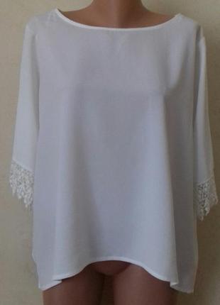 Кремовая блуза большого размера с кружевом f&f