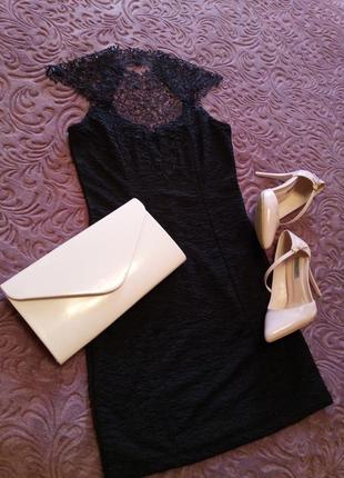 Коктельное короткое черное платье