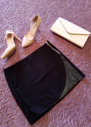 Черная юбка экокожа