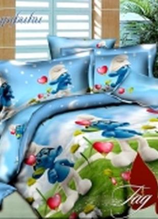 1,5-спальный комплект постельного белья детский tag ранфорс смурфики, выбор расцветок
