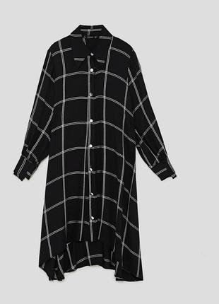 Платье-рубашка в клетку от zara. новое с биркой, размер s-m