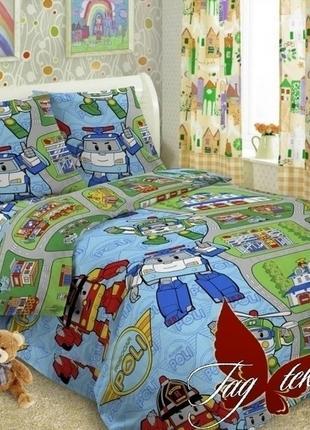 1,5-спальный комплект постельного белья детский tag поплин поли, много расцветок