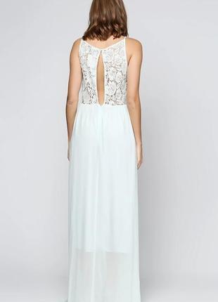 Элегантное длинное вечернее, выпускное платье h&m с кружевной спинкой с разрезом