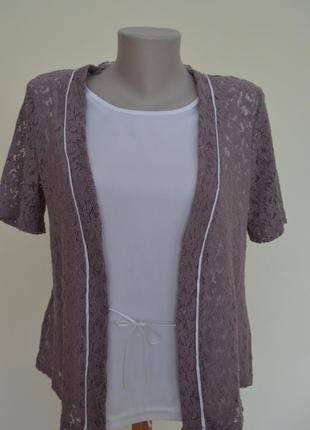 Комбинированная гипюровая блуза