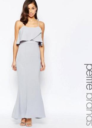 Скидки -70%! нежное вечернее платье в пол с воланом, платье макси asos для торжества