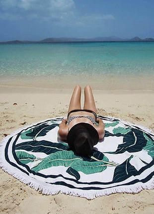 Пляжное покрывало круглое с рисунком банановые листья
