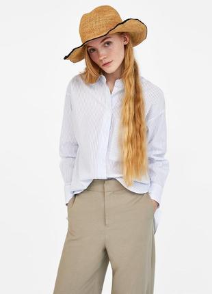 Рубашка oversize белая в полоску zara