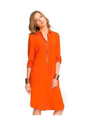 Оранжевое легкое миди платье-рубашка oodji xs-s