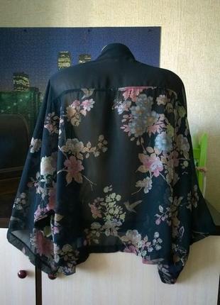 Кимоно накидка кофточка с цветочным принтом peacocks2 фото