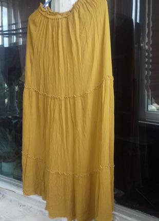 Летняя суперлегкая жёлтая, горничная юбка zara