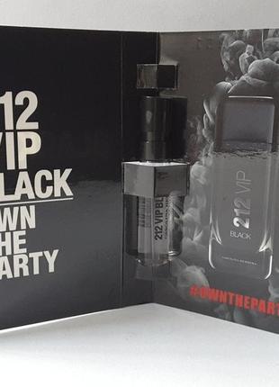 Пробник парфюмированной воды 1,5 мл carolina herrera 212 vip black, испания