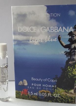 Пробник туалетной воды 1,5 мл dolce&gabbana light blue beauty of capri, италия