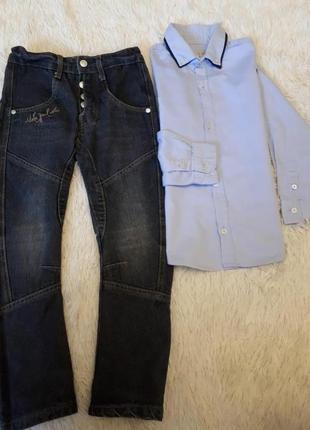 Стильные джинсы и рубашка мальчику zara испания р.116/5 лет в идеале