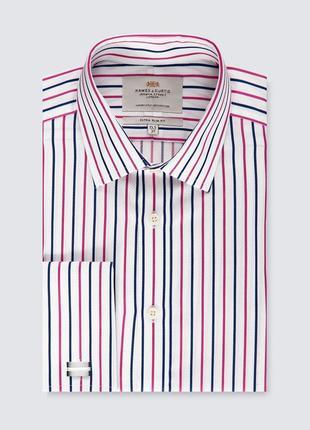 Акция 1+1=3 рубашка под запонки в полоску next из хлопка, размер 48 - 50