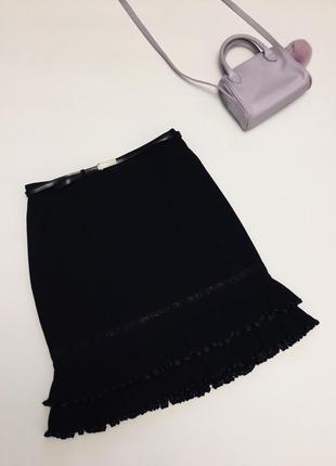 Супер юбка с кожаным поясом и воланами снизу, gina bacconi, большой размер 48-50, 50-52