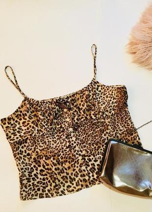 Легкий летний топ леопард, select, большой размер 44-46, 46-48