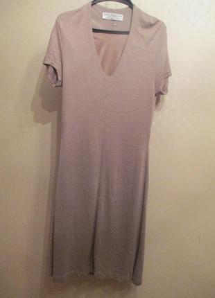 Вискозное платье миди на подкладке zara