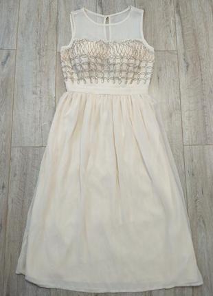 Лёгкое. нарядное платье шифоновое нежное бежевое в молочном цвете2 фото