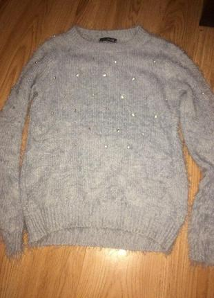 Голубой мягкий свиер травка свитер-травка с камнями