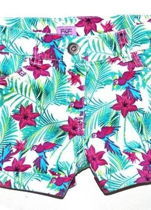 Клевые шорты в тропический принт f&f 7-8 лет (128)