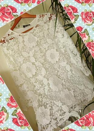 Белая ажурная блуза туника